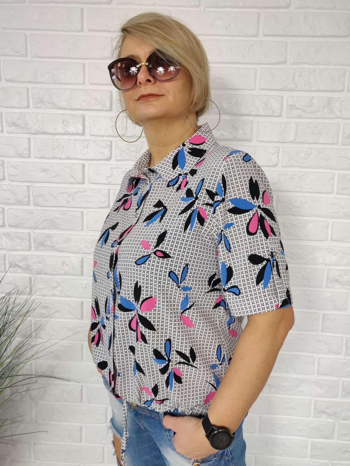 Блузка Kopka рубашка кулиска цветы к/р