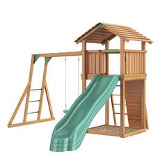 Детская площадка Jungle Cottage + Rock + Рукоход с качелей