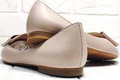 Классические туфли женские балетки бежевые Wollen G192-878-322 Light Pink.