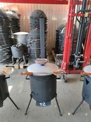 Комплект 12 литров, печь с трубой и дверцей + узбекский казан + шумовка