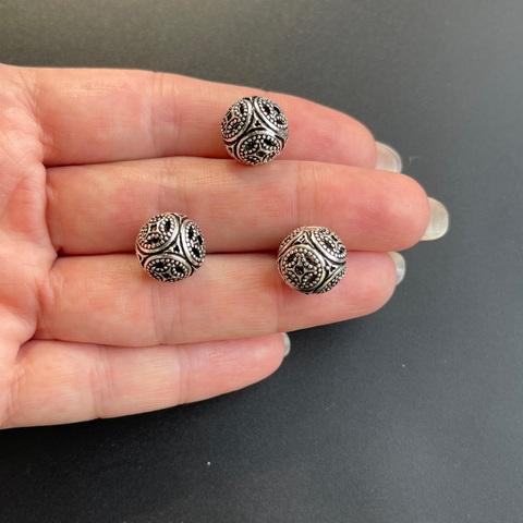 Бусина Азия 12 мм серебро 925