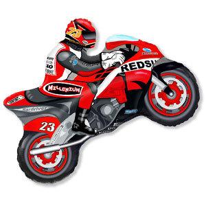 Фольгированный шар Мотоциклист красный 68см X 80см