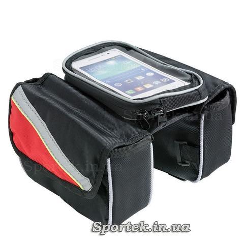 Сумка велосипедна на раму, подвійна з бічними кишенями і відділом для смартфона
