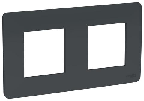 Рамка на 2 поста. Цвет Антрацит. Schneider Electric Unica Studio. NU200454