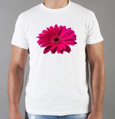 Футболка с принтом Цветы (Герберы) белая 002