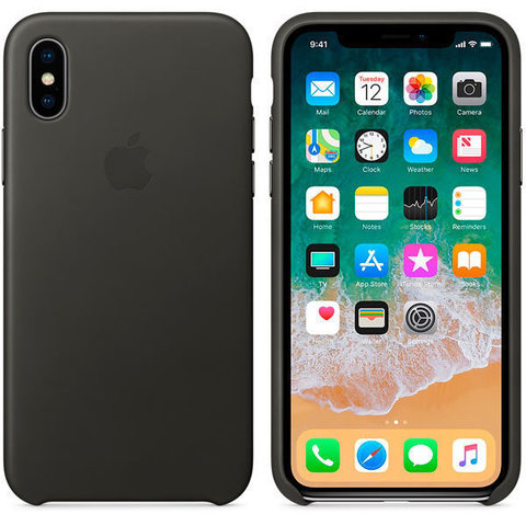 iPhone X Leather Case Charcoal Gray