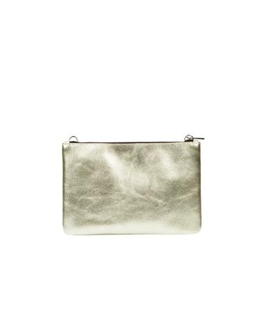 Клатч-косметичка из метализированной кожи цвета Абсент