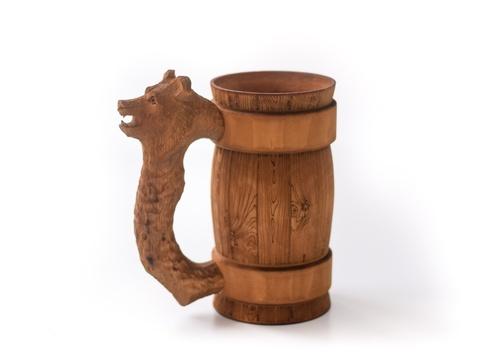 Кружка деревянная пивная с резной ручкой «Медведь» 0,5 л