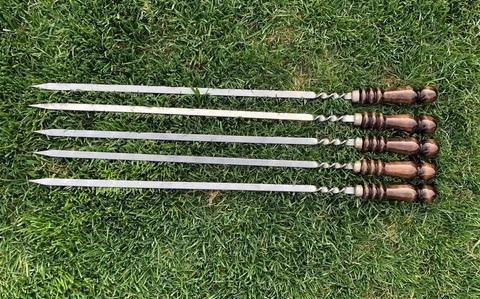Шампур для люля-кебаб с деревянной ручкой 60 см