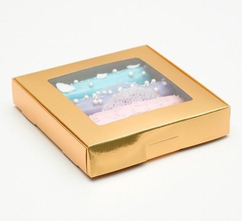 Коробка самосборная, с окном, золотая 16*16*3 см