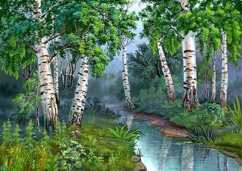 Картина раскраска по номерам 30x40 Мелкая речка среди берез