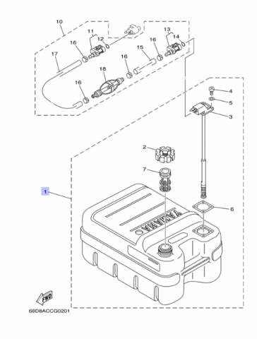 Бак Топливный Yamaha 24л. 6YJW2420J200