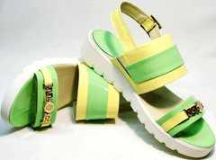 Кожаные женские сандали с открытым носом Crisma 784 Yellow Green.