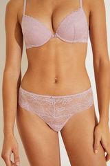 Широкі трусики-бразіліана з мережива рожевого кольору