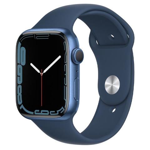 Apple Watch Series 7, GPS,45 мм, корпус из алюминия синего цвета цвета, спортивный ремешок «синий омут»