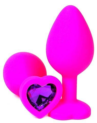 Розовая силиконовая пробка с фиолетовым кристаллом-сердцем - 10,5 см.