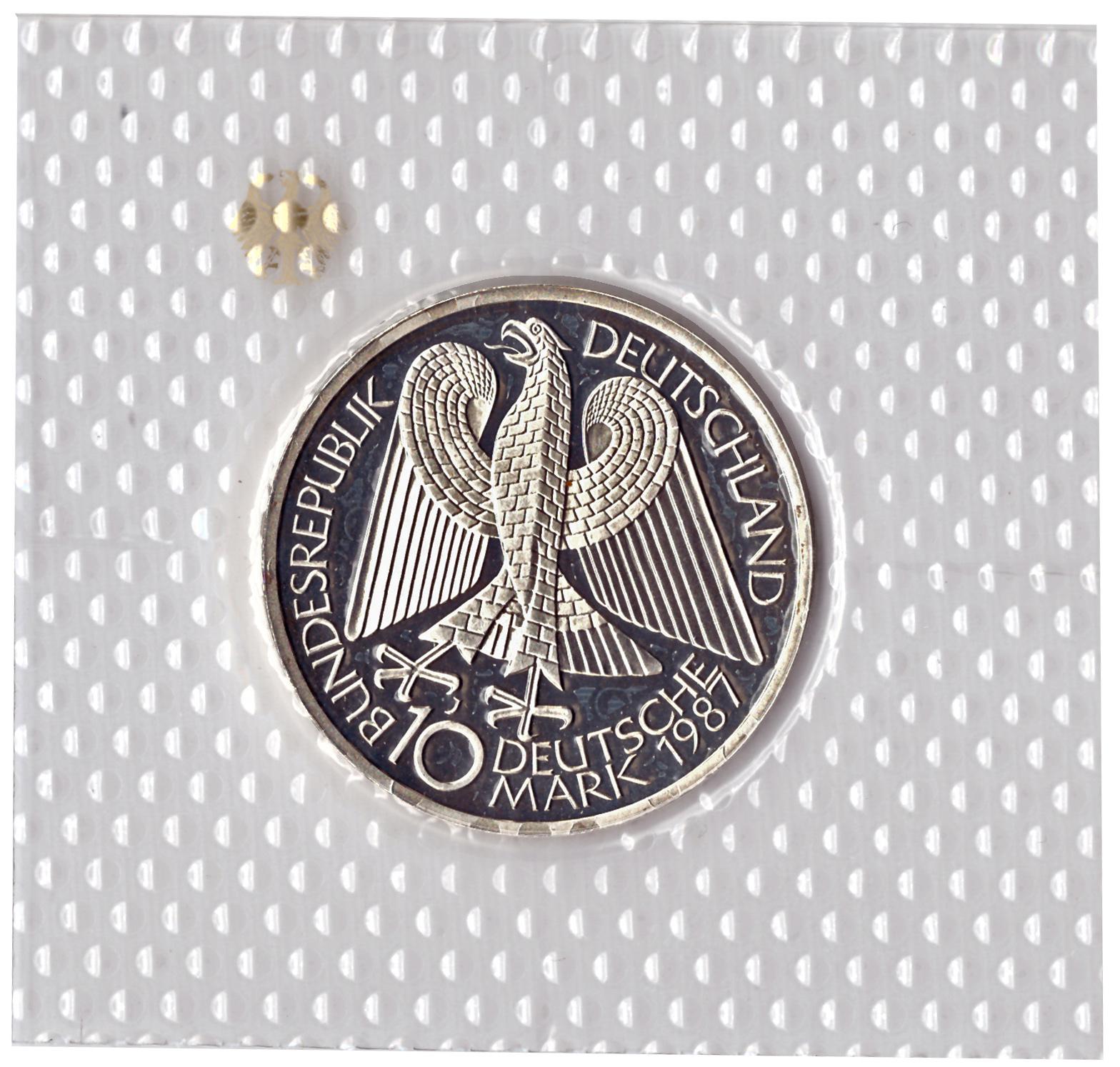 10 марок 1987 год (J) 750 лет городу Берлин, Германия. PROOF в родной запайке