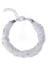 Бисерный браслет 12 нитей серебристый