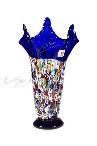 Ваза  из муранского стекла мультиколор на голубой основе (по предзаказу)