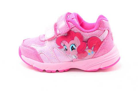 Светящиеся кроссовки для девочек Пони (My Little Pony) на липучках, цвет розовый, мигает картинка сбоку. Изображение 3 из 12.