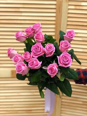 15 розовых роз 70 см #3049
