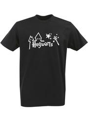 Футболка с однотонным принтом Гарри Поттер, Хогвартс (Harry Potter, Hogwarts) черная 007
