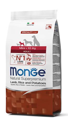 Monge Dog 7,5 кг Speciality Mini корм для взрослых собак мелких пород ягненок с рисом и картофелем
