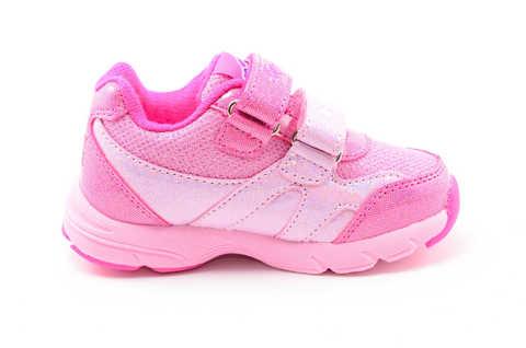 Светящиеся кроссовки для девочек Пони (My Little Pony) на липучках, цвет розовый, мигает картинка сбоку. Изображение 4 из 12.