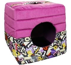 Лежанка-домик трансформер для кошек и собак, Mr. Alex, мебельная ткань + поплин, 45*45*45