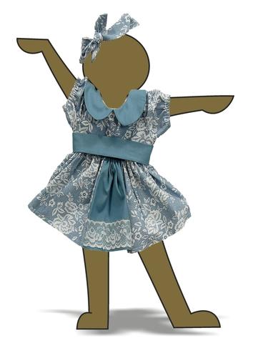 Платье хлопковое кружево принт - Демонстрационный образец. Одежда для кукол, пупсов и мягких игрушек.