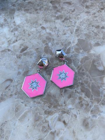 Серьги Сириус из серебра с розовой эмалью