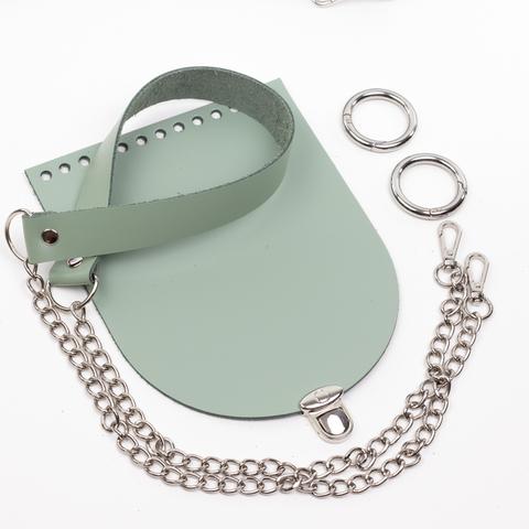 """Комплект для сумочки Орео """"Фисташка"""". Ручка с цепочкой и замок """"круг микро"""""""