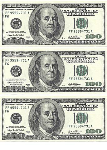 Печать на сахарной бумаге, Набор Купюра 100 долларов 1