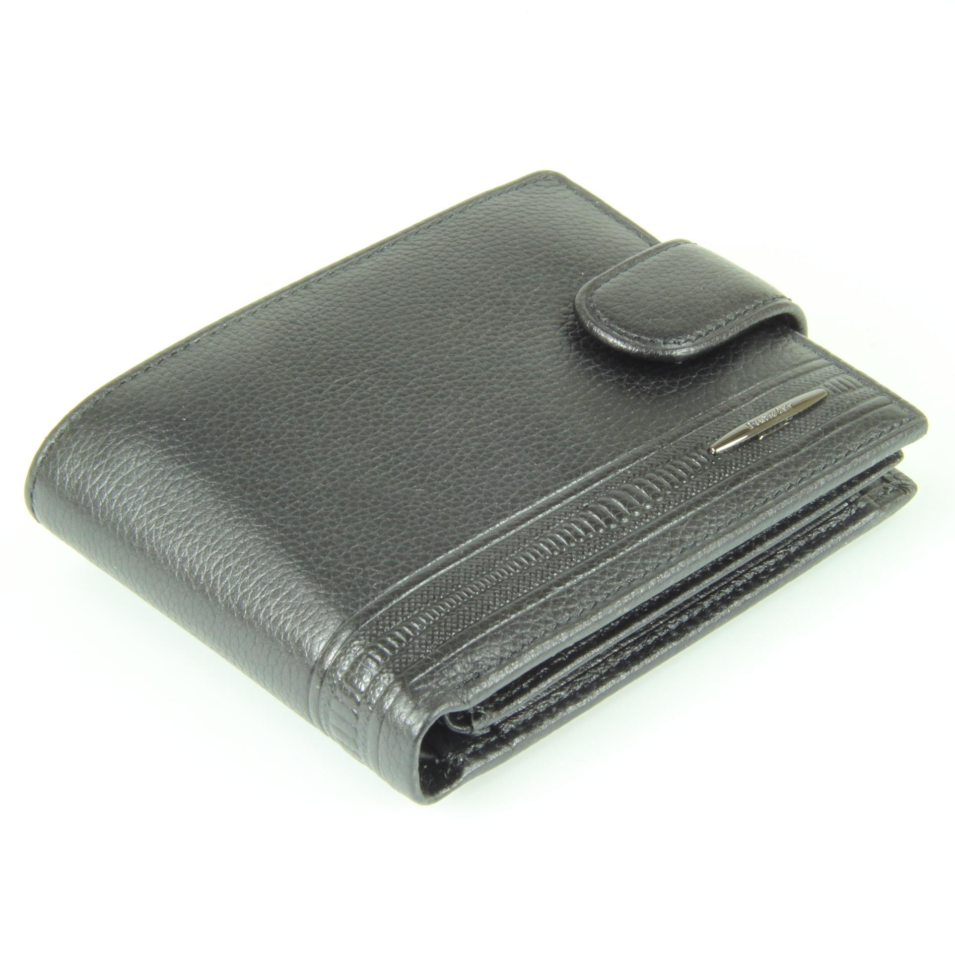 Небольшое компактное мужское чёрное портмоне бумажник из натуральной и долговечной кожи яка M100-DC11-04A