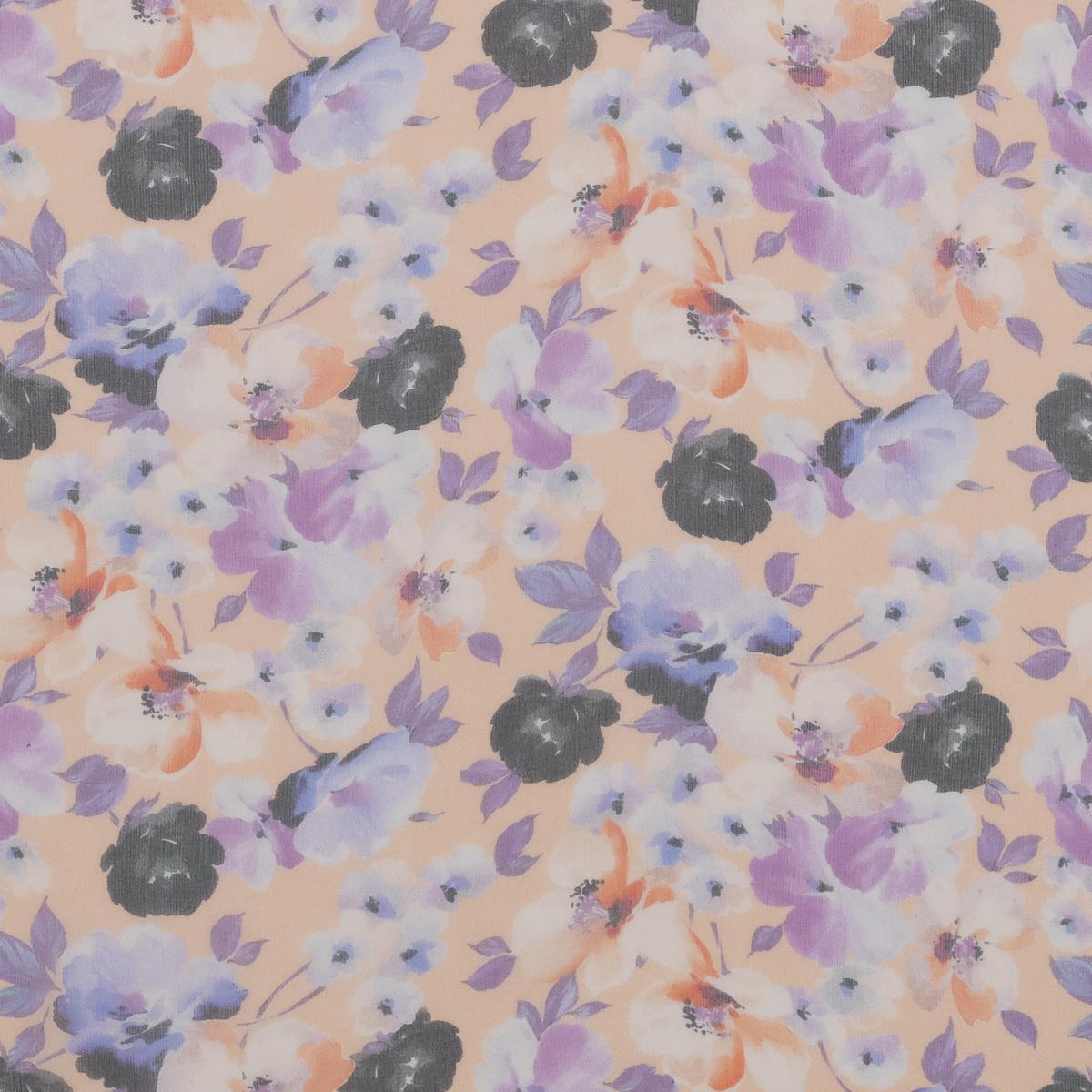 Шёлковый шифон в фиолетовые розы на оранжевом