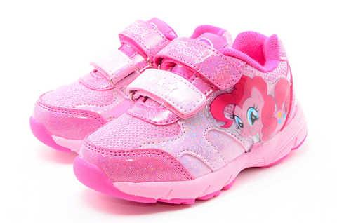 Светящиеся кроссовки для девочек Пони (My Little Pony) на липучках, цвет розовый, мигает картинка сбоку. Изображение 6 из 12.