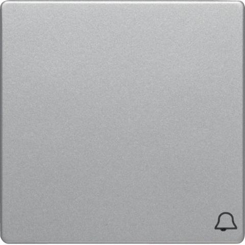 Выключатель одноклавишный, кнопочный (1 замыкатель, 1 размыкатель, раздельные входные клеммы) с оттиском символа «Звонок» 10 А 250 В~. Цвет Алюминий. Berker (Беркер). Q.1 / Q.3 / Q.7. 16206054+503203