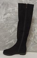Высокие сапоги женские зимние. Замшевые ботфорты на низком ходу Kluchini-Suede Leather Black.