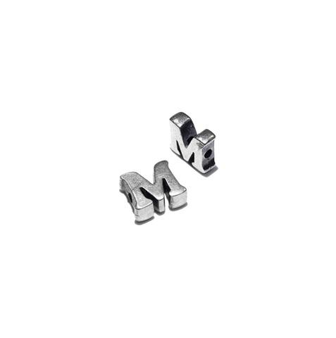 Alphabet letter M, sterling silver