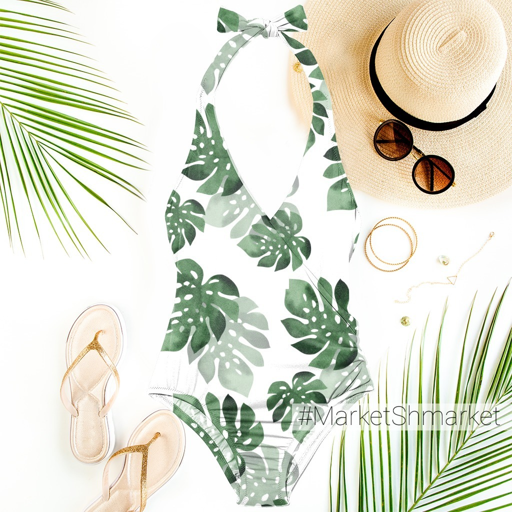 Watercolor tropical seamless pattern with monstera leaves.