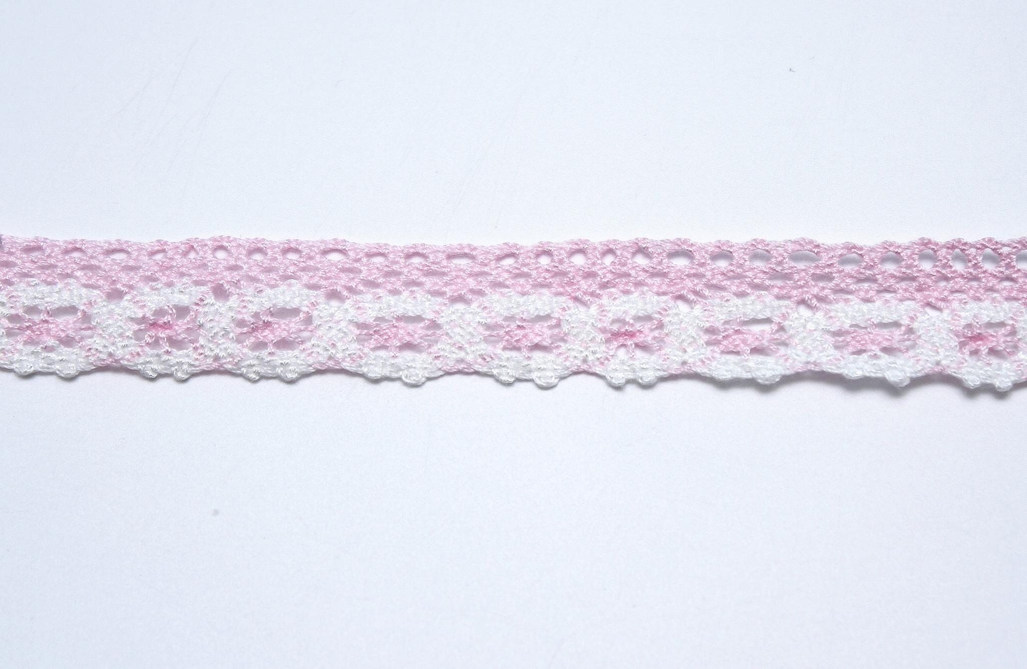 Кружево розово-белое, 2 см