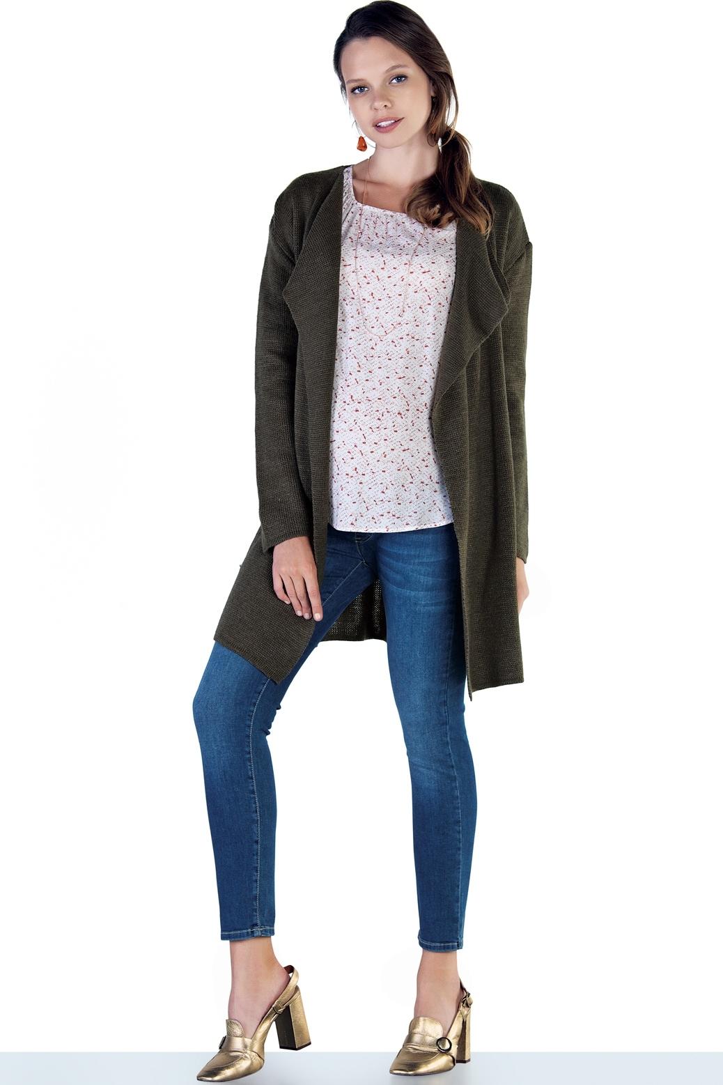 Фото джинсы-skinny для беременных EBRU, укороченные, с эластичной вставкой от магазина СкороМама, синий, размеры.