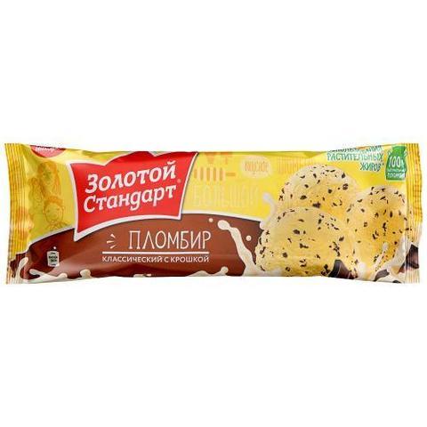 """Мороженое """"Золотой стандарт"""" Пломбир классический с крошкой мягкая упаковка 400г"""