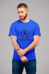 Мужская футболка с принтом Акура (Acura) синяя 002
