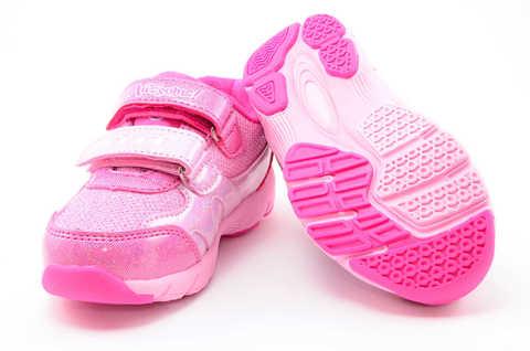 Светящиеся кроссовки для девочек Пони (My Little Pony) на липучках, цвет розовый, мигает картинка сбоку. Изображение 8 из 12.