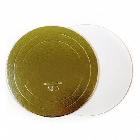 Подложка для торта d=34 см (3,2мм) золото/белый