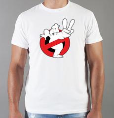 Футболка с принтом Охотники за привидениями (Ghostbusters) белая 007
