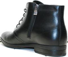 Теплые ботинки мужские на молнии Ikoc 3640-1 Black Leather.