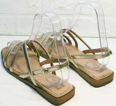 Модные женские сандалии шлепанцы кожа Wollen M.20237D ZS Gold.