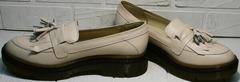 Модные женские туфли лоферы из натуральной кожи Markos S-6 Light Beige.